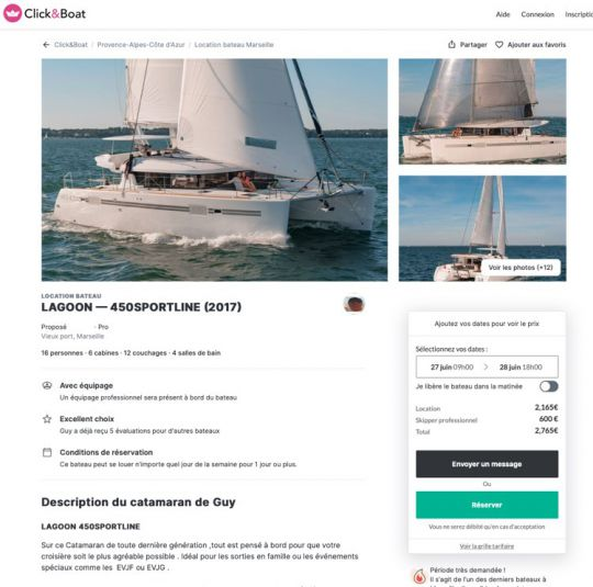 Une annonce sur le site de Click&Boat