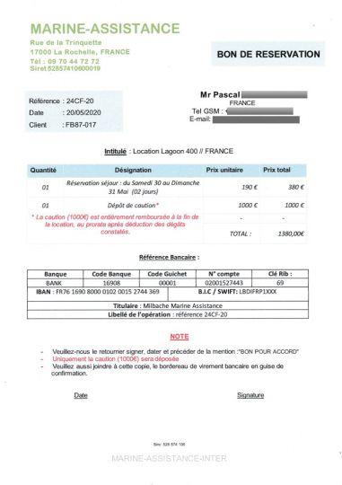 Le document envoyé par le truand pour demander de virer une caution sur son compte bacaire