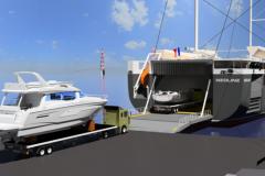 Simulazione del carico delle imbarcazioni Bénéteau sul veliero ro-ro Neoline