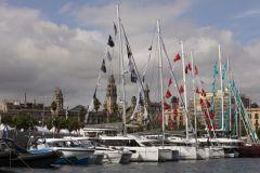 Barche esposte a Port Vell per il Salone Nautico di Barcellona